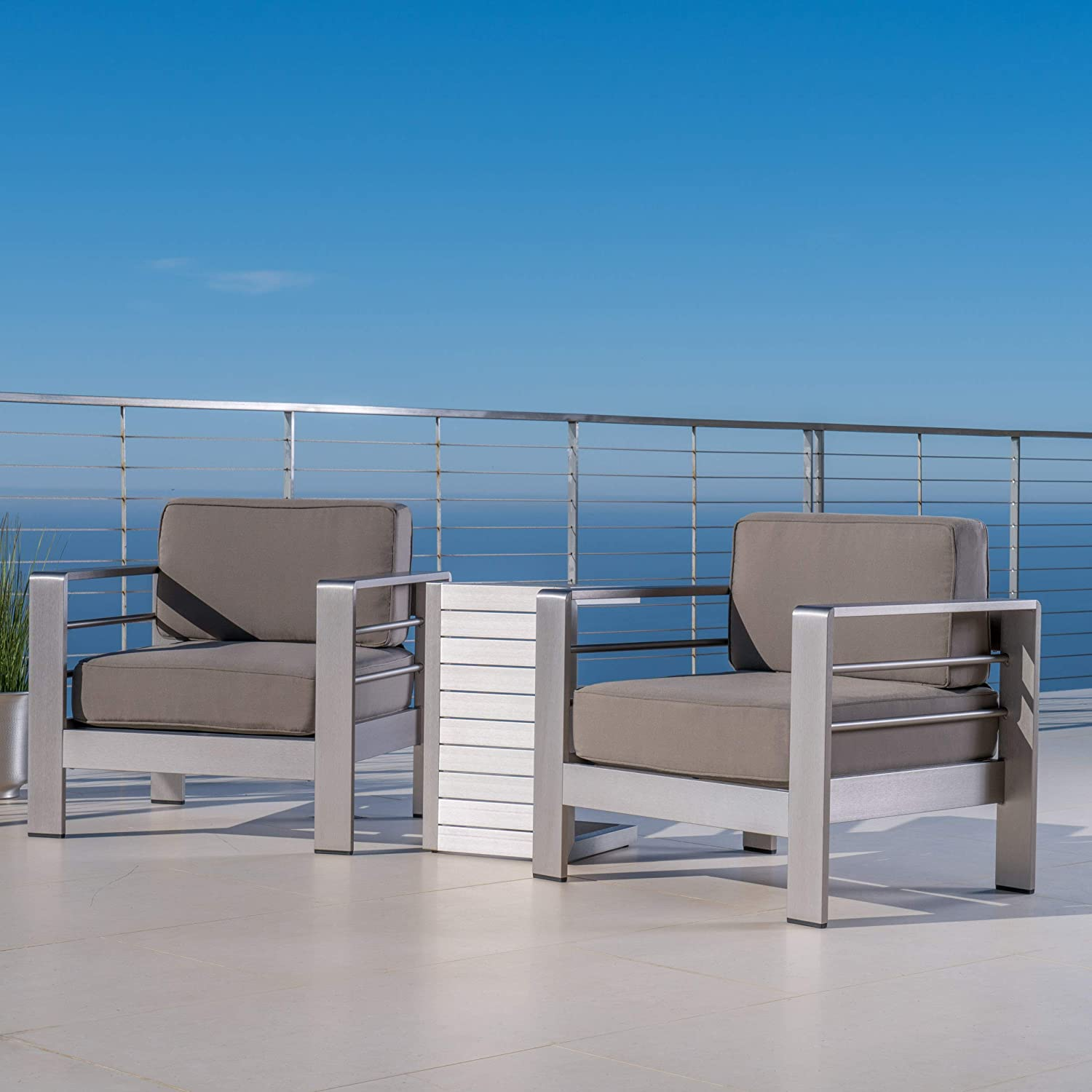 Christopher Knight Home 300476 Crested Bay Outdoor Aluminum Patio Chairs with Side Table Chat Set Khaki Silver