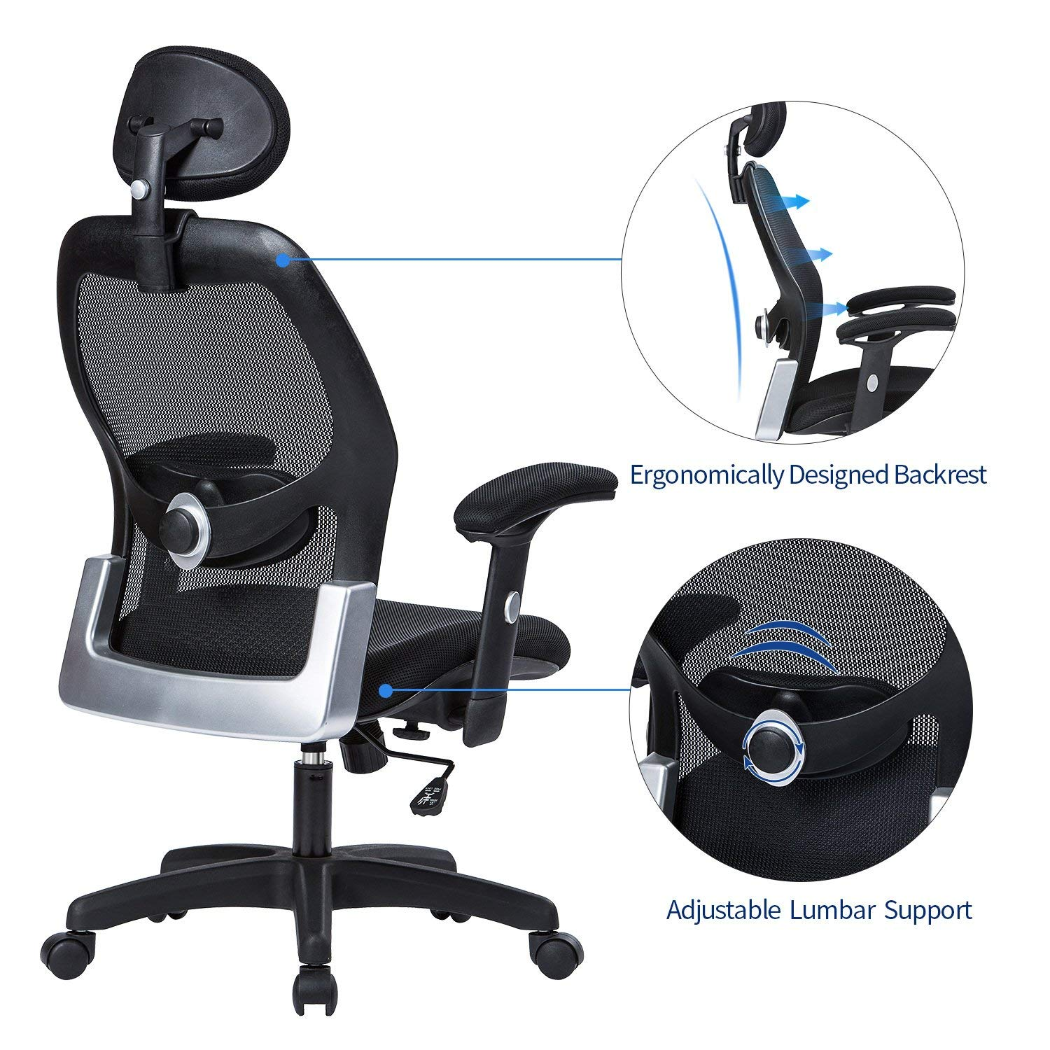 LIANFENG Ergonomic Office Chair, High Back Executive Swivel Computer Desk Chair with Adjustable Armrests and Headrest, Back Lumbar Support, Black by LIANFENG (Image #3)