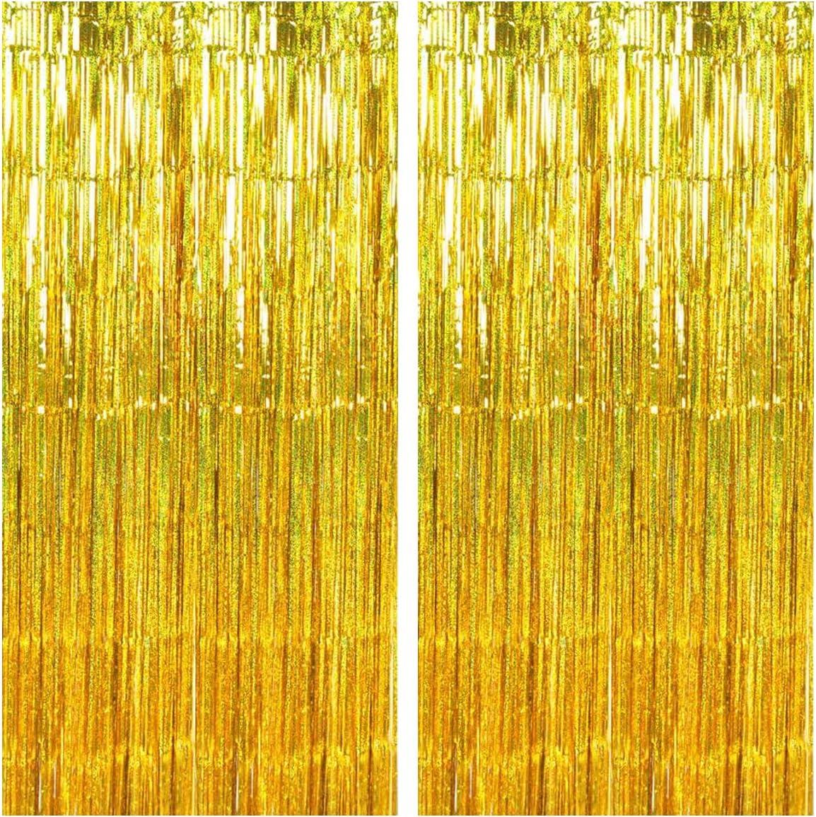 Disino 2 Stk Gold Folie Fransen Vorhang 1 X 2 M Laser Metallic Tinsel Vorhänge