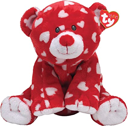 TY PLUFFIES PLUFFY RED HEART DREAMLY TEDDY BEAR PLUSH BEANIE BABY