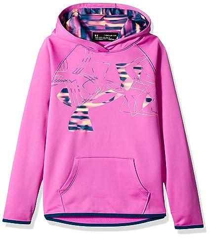 ccdc5310a Under Armour Girls Armour Fleece Print Fill Logo Hoodie , Fluo Fuchsia  (565)/