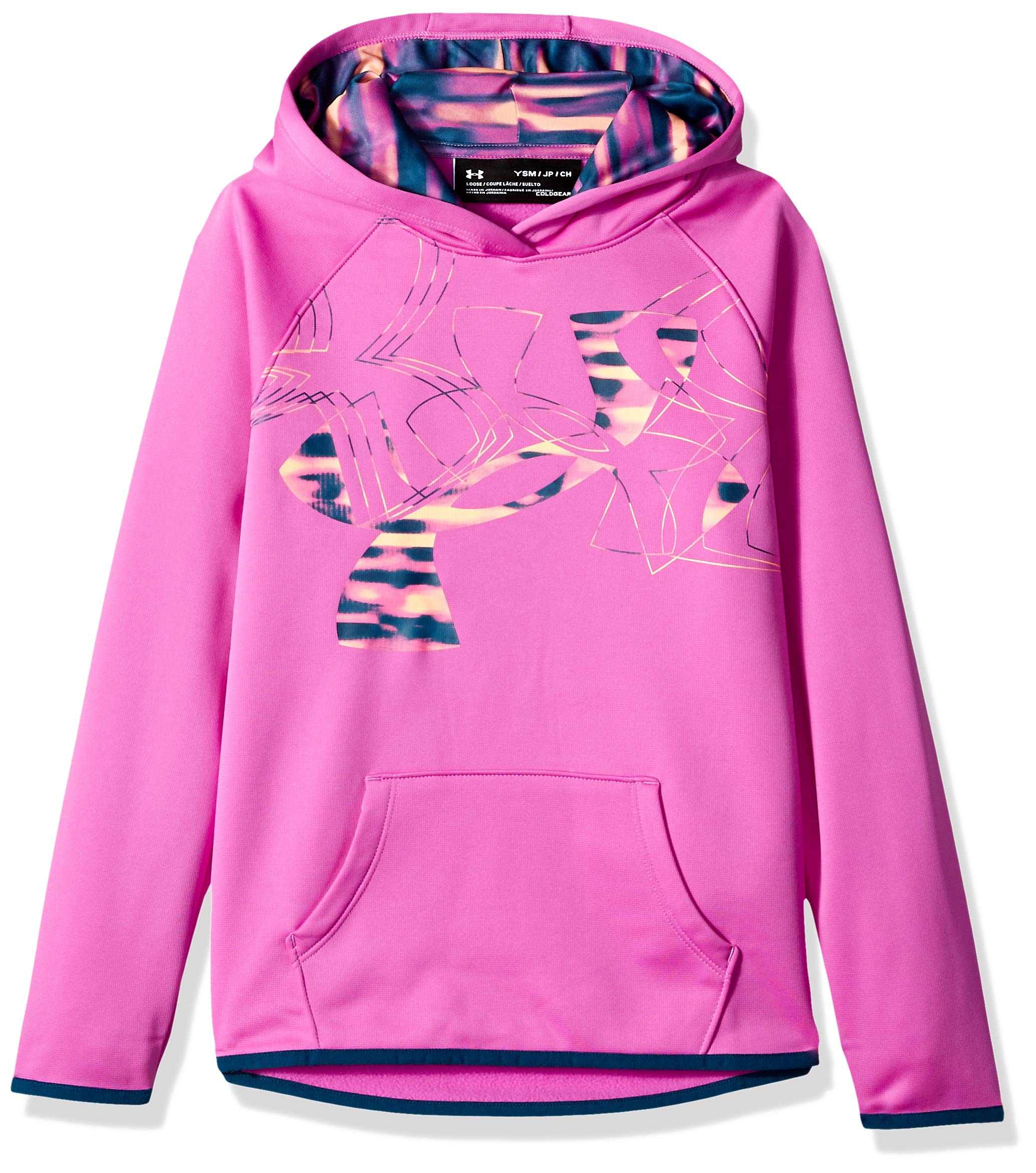 Under Armour Girls Armour Fleece Print Fill Logo Hoodie , Fluo Fuchsia (565)/Techno Teal, Youth Small