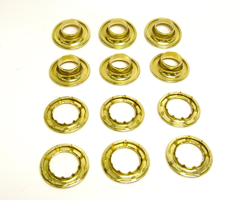 "Grommets, #6 Brass, Heavy Duty Rolled Rim Spur, 3/4"" Inch Hole, 6 Pc. Set"
