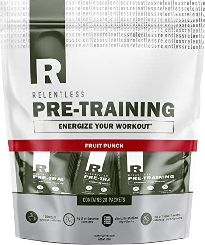 Pre Workout Powder Packets by Live Relentless Nutrition – Pre-Training Supplement with Creatine, Beta Alanine, and Natural Caffeine Fruit Punch, 20 Individual Packets