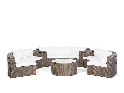 Beliani Conjunto de jardín con sofá de ratán y Mesa de café en ...
