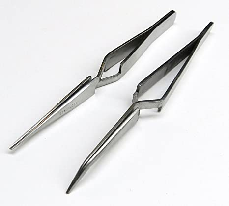 Fiber Grip Cross Lock Tweezers Round Tips Self Holding Locking Soldering Jewelry