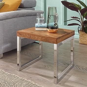 Finebuy Table Dappoint Bois Massifmétal Sheesham 45 X 40 X 45 Cm