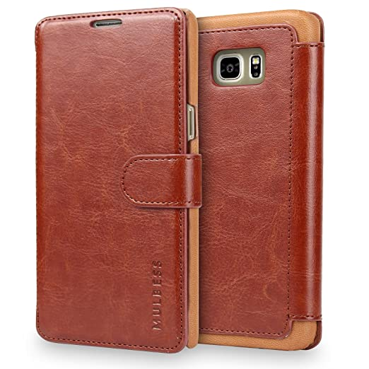 Mulbess Samsung Galaxy S6 Edge hülle Kaffee Braun,Ledertasche für Samsung Galaxy S6 Edge Tasche Leder
