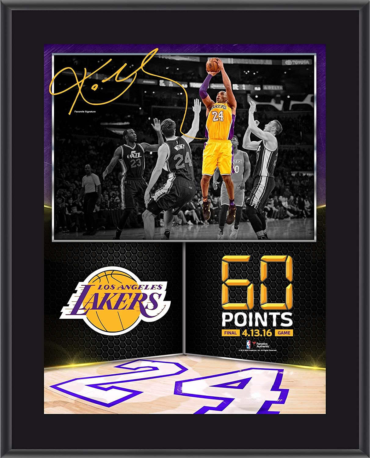 "Kobe Bryant Los Angeles Lakers 10.5"" x 13"" 60 Point Finale Sublimated Plaque - NBA Team Plaques and Collages Fanatics Authentic"