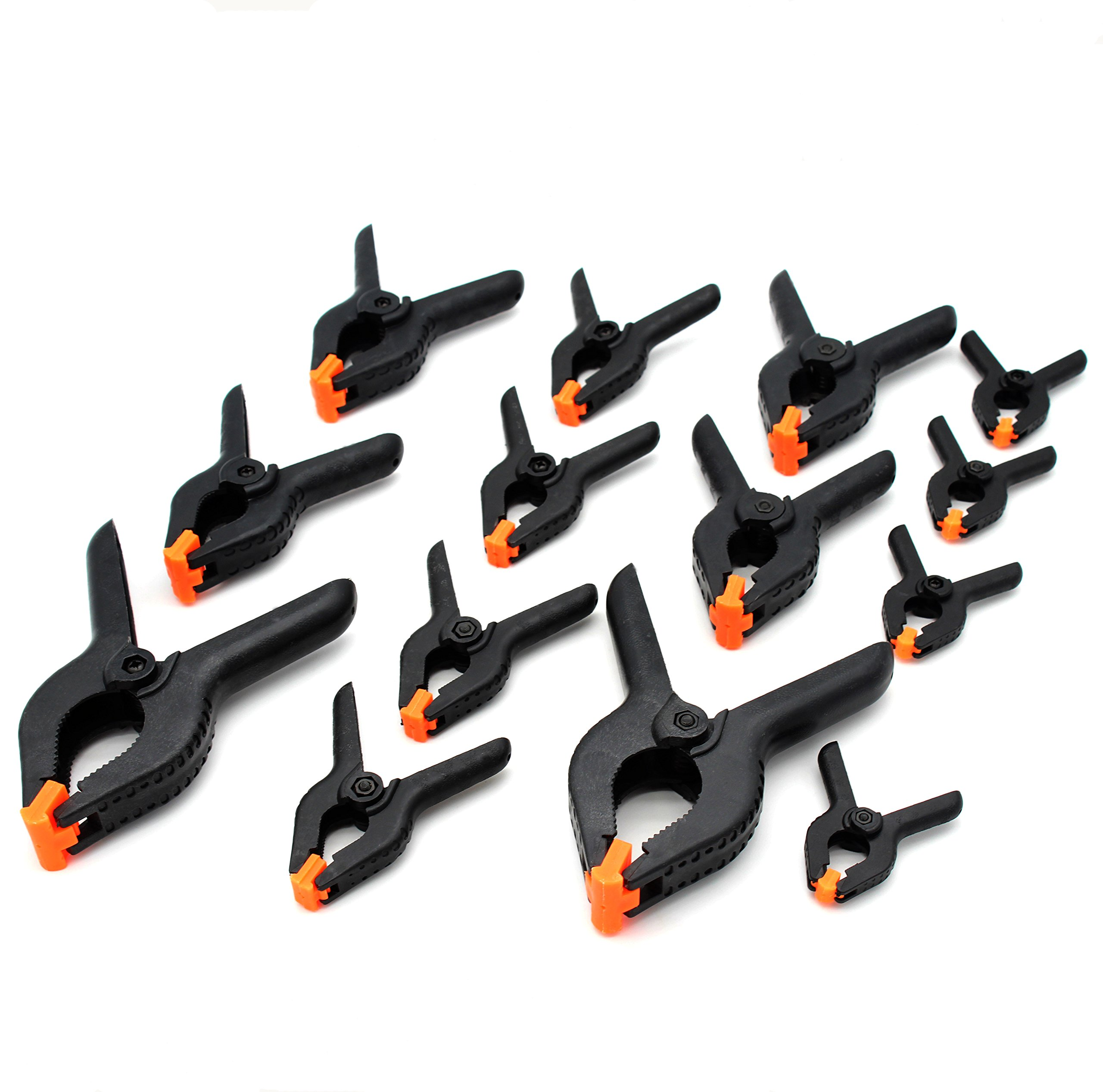 Tueascallk Nylon Spring Clamps, Woodworking Clamp, 2-1/2'', 3-3/4'', 4-1/2'', 6-1/5'' Four Specification Kits, for Home Improvement and Photography Projects, Set of 14