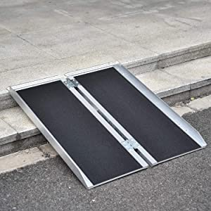 Fullwatt 3FT Non Skid Aluminum Portable Wheelchair Ramp Folding Portable Wheelchair