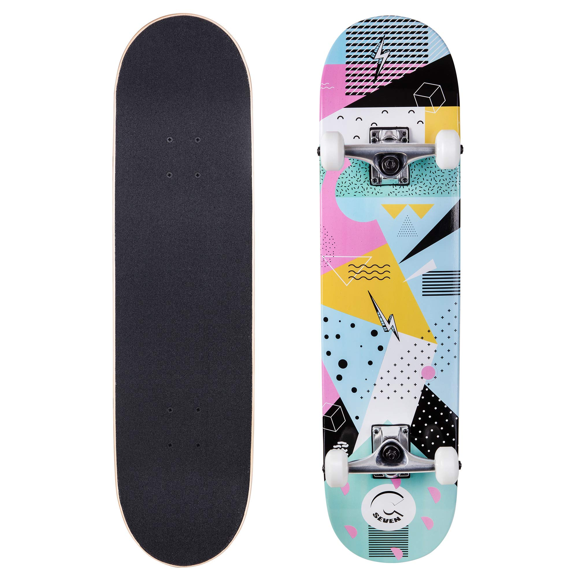 Cal 7 Complete Skateboard, Popsicle Double Kicktail Maple Deck, Skate Styles in Graphic Designs (7.75'' 90's Hella)