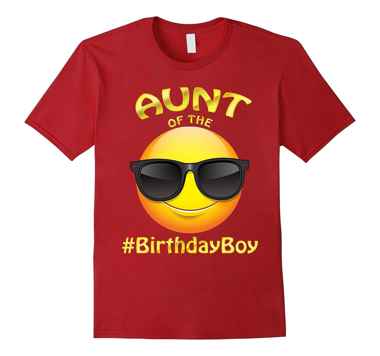 Aunt Of The Birthday Boy Emoji T-Shirt for Auntie-TH