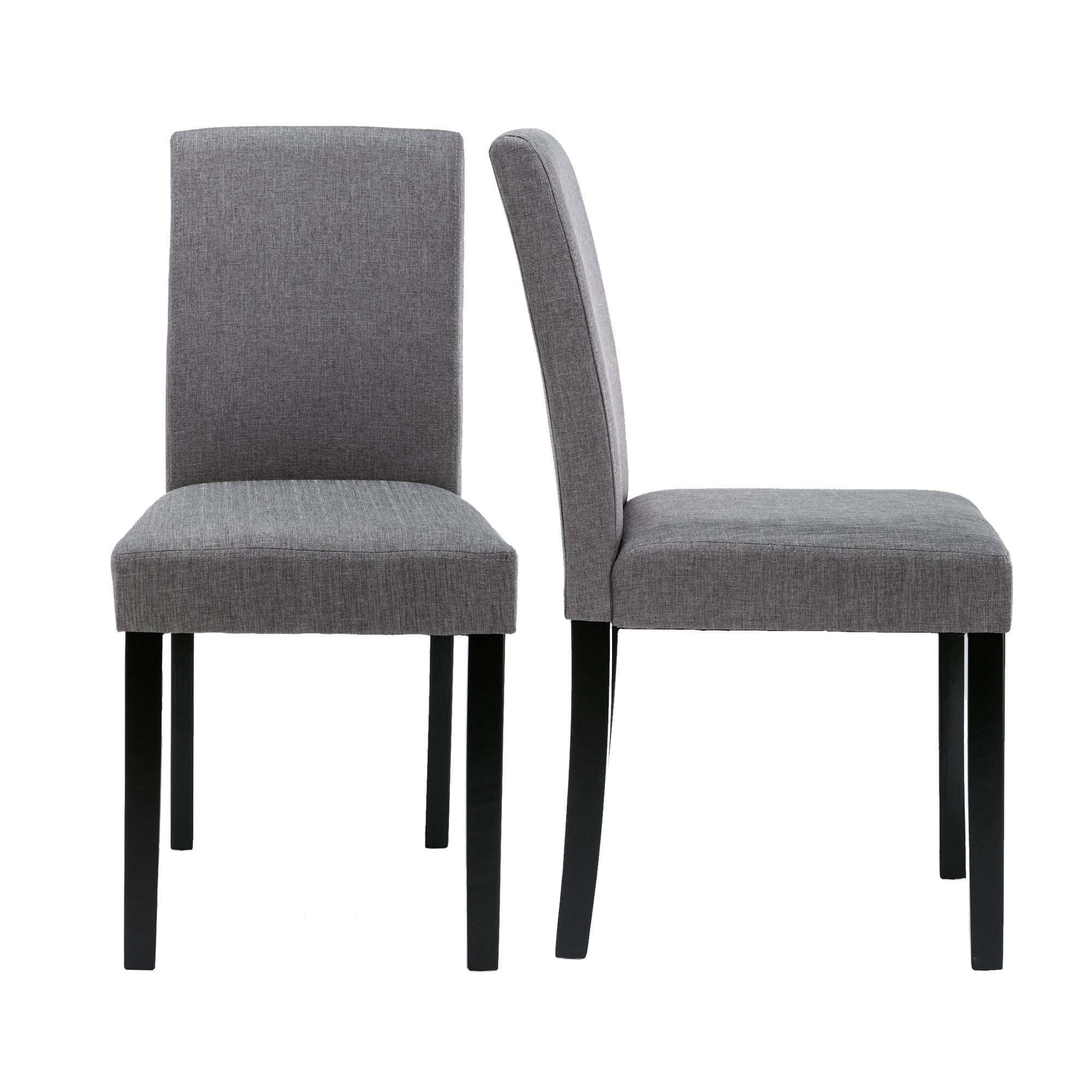 Urban Style Solid Wood Fabric Padded Parson Chair, Grey, Set of 2