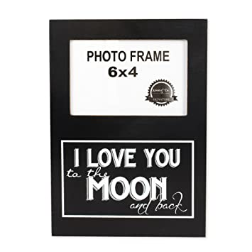 i love you to the moon and back 4 x 6 black and white wood picture