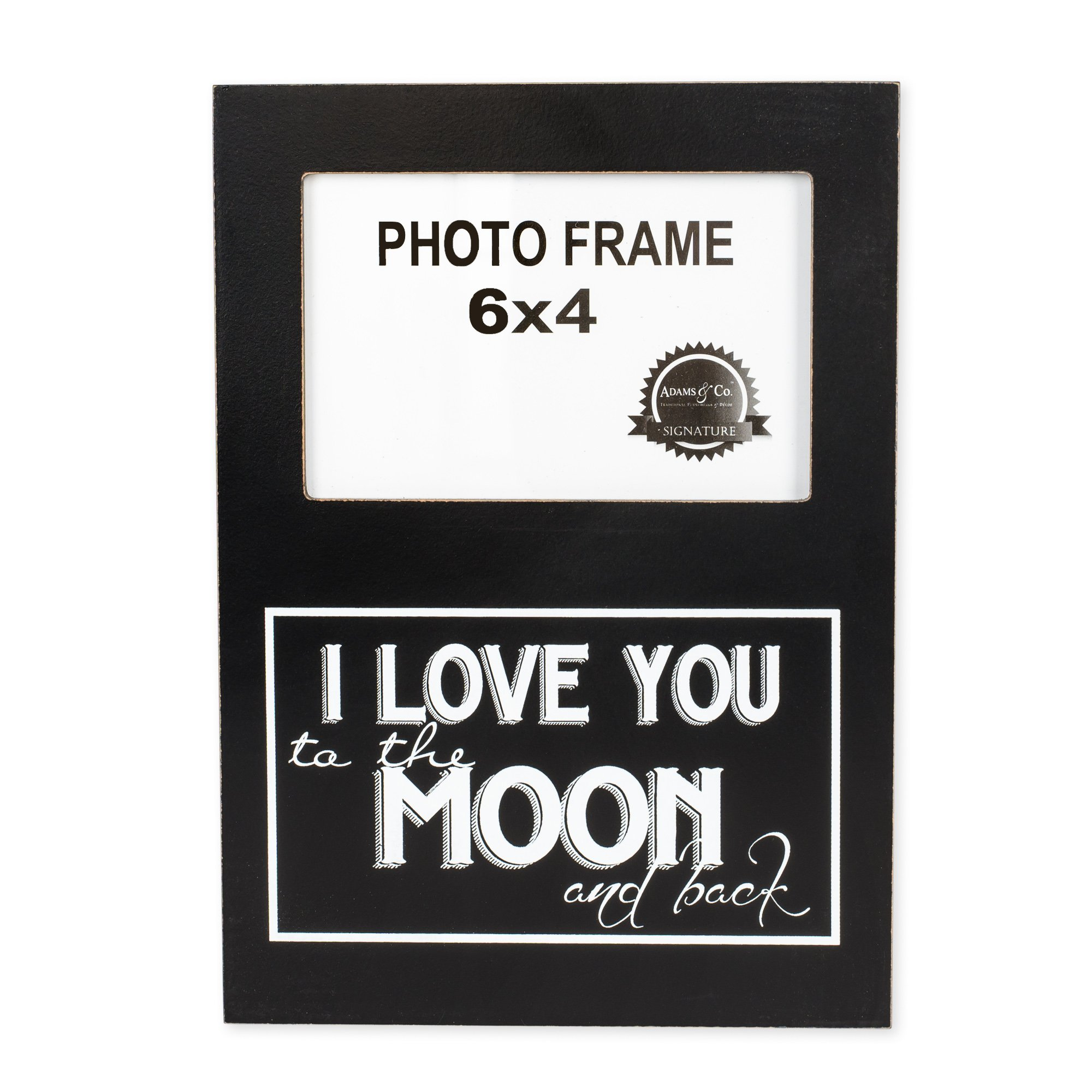 I Love You to the Moon and Back 4 x 6 Black and White Wood Picture Frame