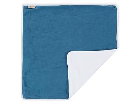 KraftKids Wickeltischunterlage Musselin dunkelblau wasserundurchl/ässige Reise-Wickelunterlage Windelmatte aus 100/% Baumwolle