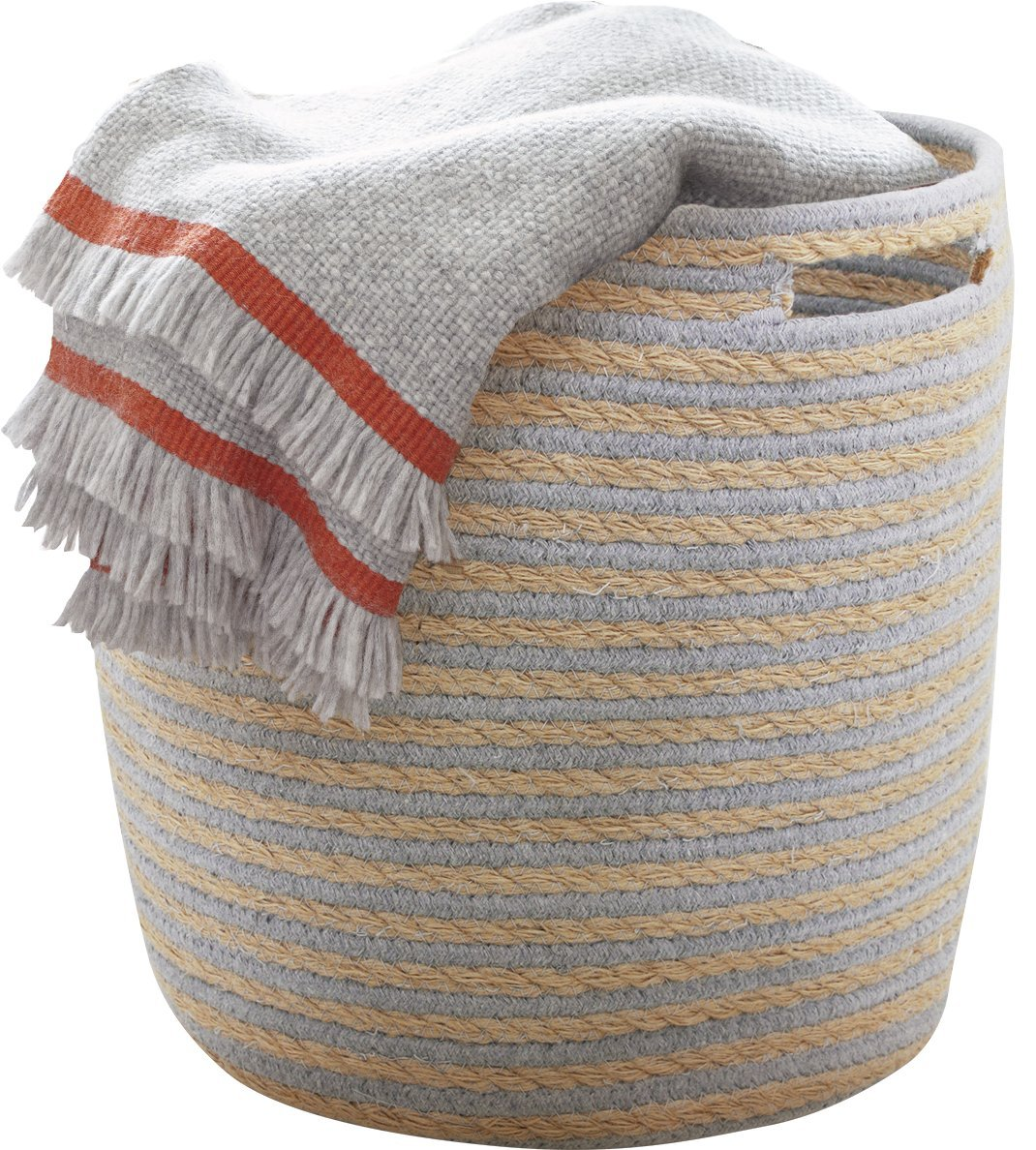 LA JOLIE MUSE Storage Baskets Nursery Toy Woven Basket, Dorm Room Cotton Rope Linen Organizer with Handle,14