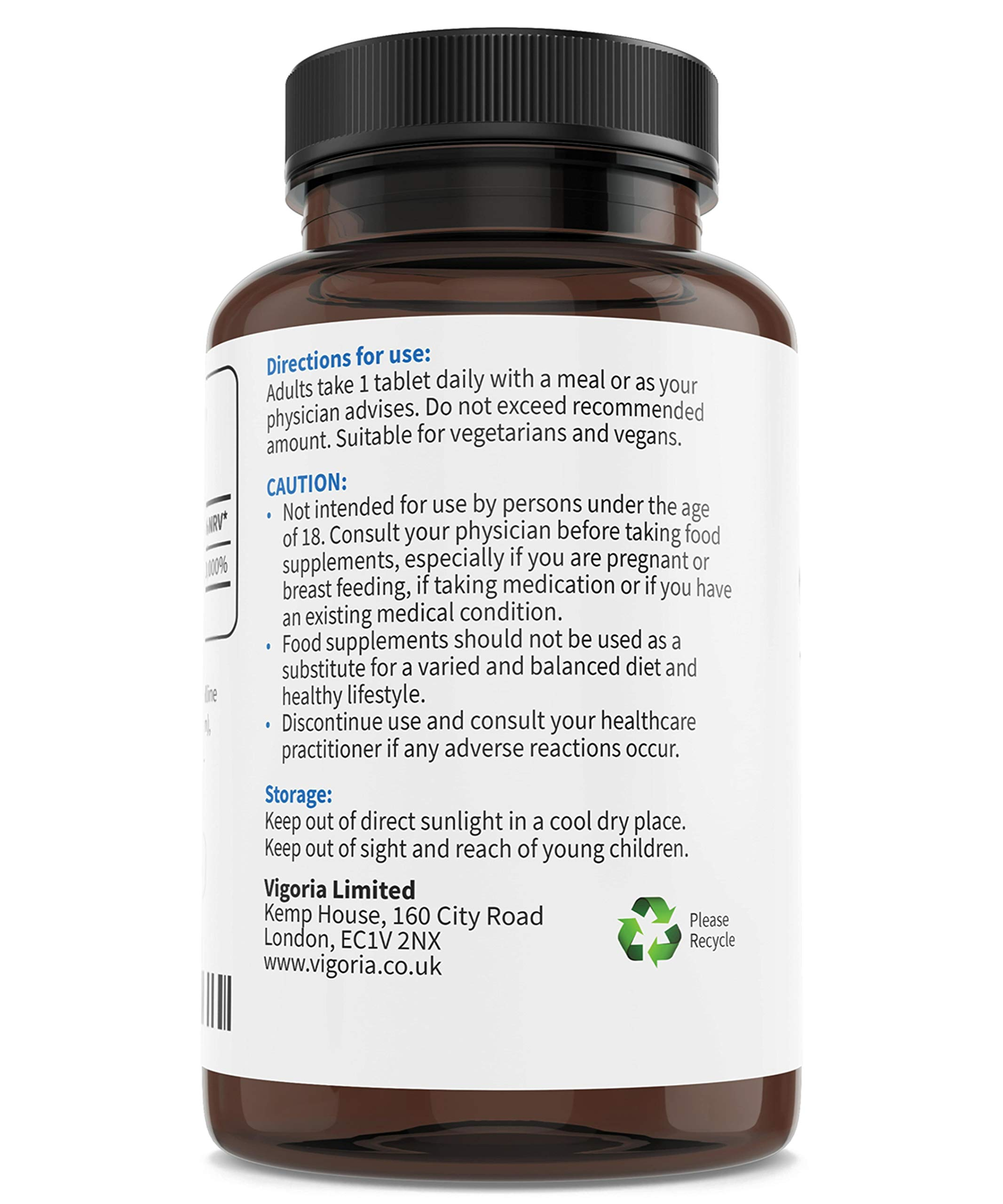Vitamin B12 for a Healthy Nervous and Immune System - Natural Energy, Tiredness and Fatigue Reduction - 1000 mcg - 120 Easy Absorption Tablets - Non-GMO - Gluten-Free - Vegan - UK Made