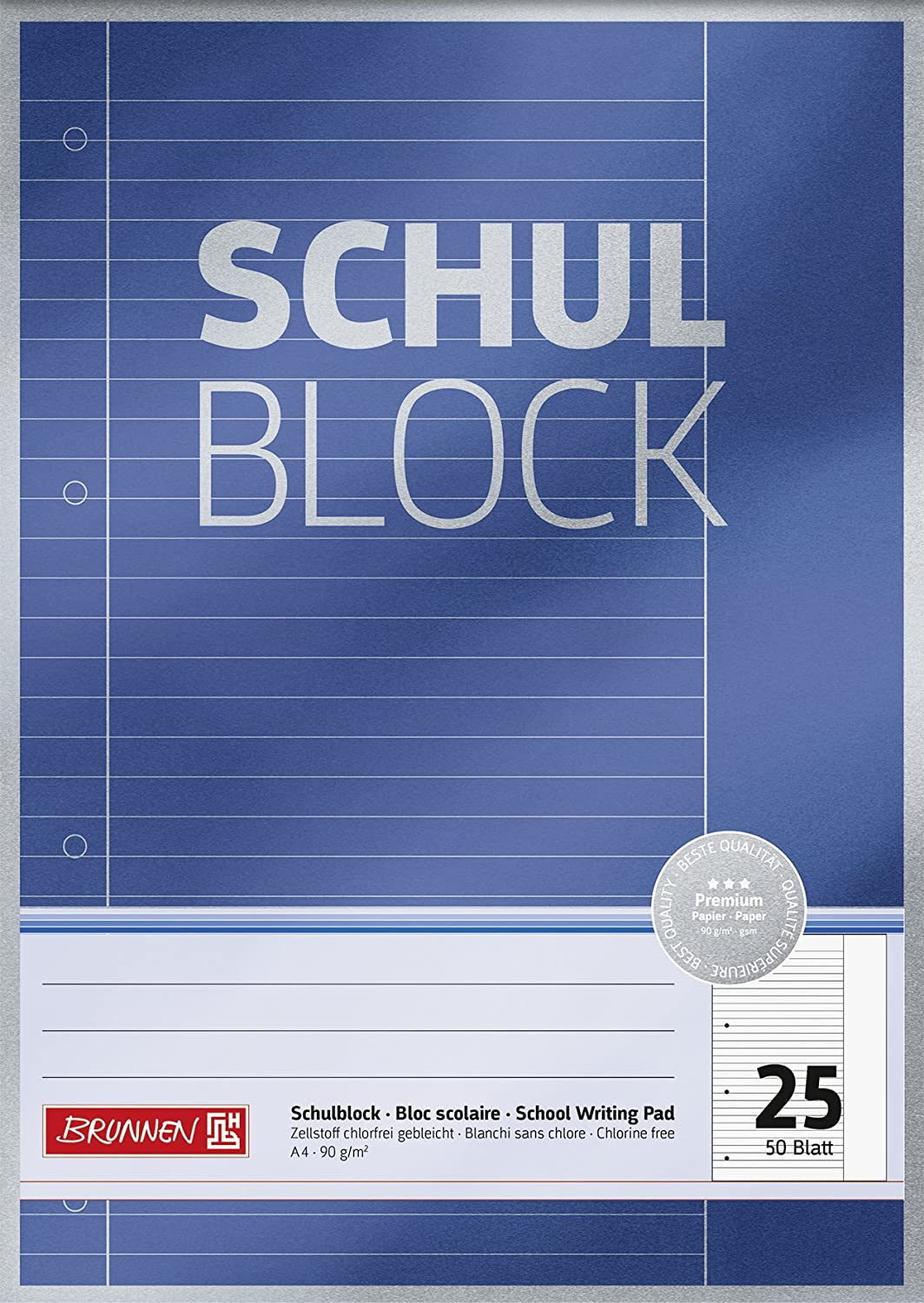 Brunnen 1052625 Premium School Notepad A4, 50 Sheets, Lined, Margin, Ruling 25, Punched and Glued at Head, 90 g//m/²