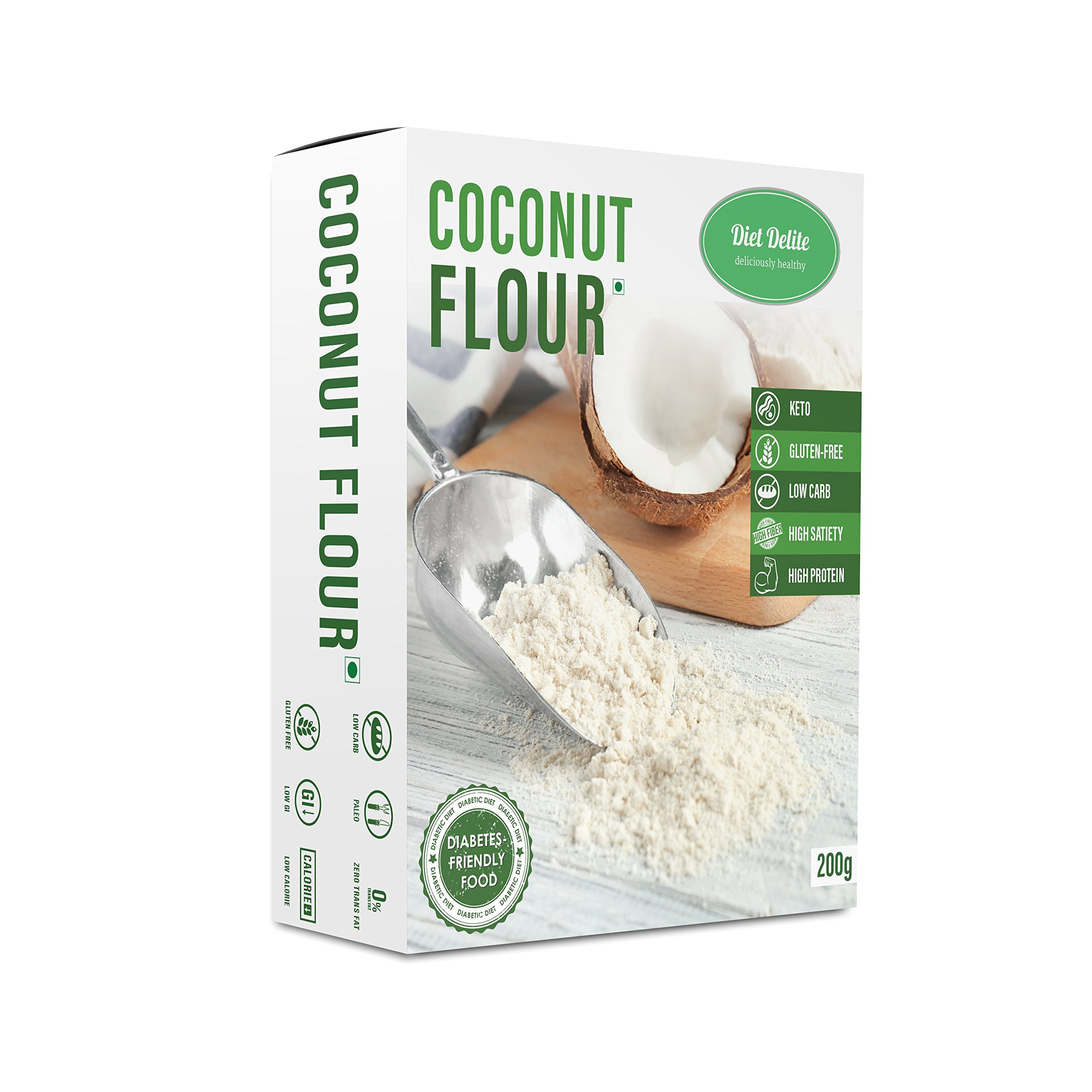 Coconut flour Keto-Glutenfree,Low Carb,Dietary food,High Protien,Tasty Wheat replacement by Diet Delite