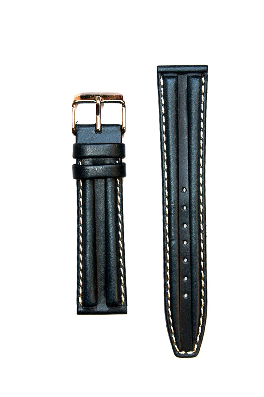 double-hump oil-tannedカーフスキンレザー時計バンド、18 mm (ブラック)  B0041BR3FE