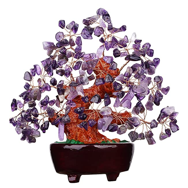 Purple Crystal Money Tree Feng Shui Natural Amethyst Quartz Gem Stone Feng Shui Money Tree