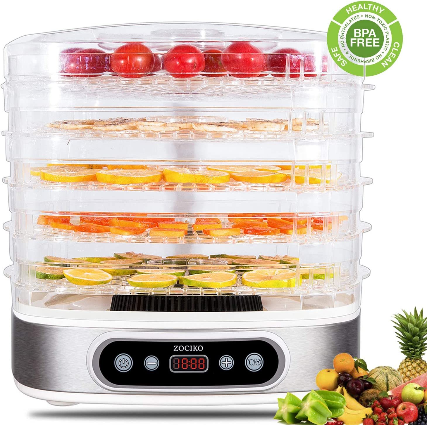zociko Food Dehydrator Machine, Multi-Tier Food Preserver, Beef Jerky Maker with 5-Trays Adjustable Digital Temperature 95 F to 158 F 450 W, Dried Fruits, Vegetables Nuts, BPA Free, Dishwasher Safe