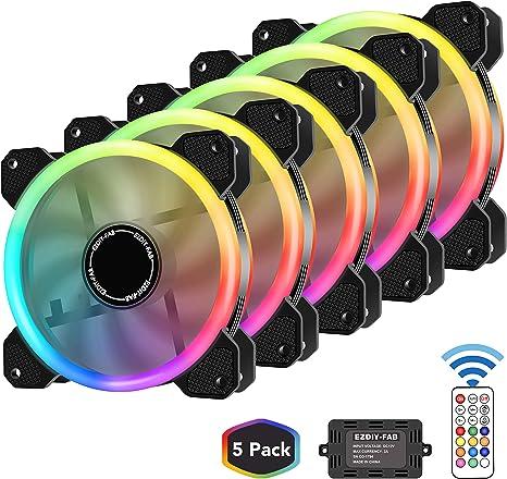 EZDIY-FAB 5-Pack Ventilador PC 120mm RGB, LED Ventilador Silencioso High Airflow Color Ajustable LED Fan, CPU Cooler y Radiador Soporte Intel AMD DIY Mod AM4 Rrzen, con RF Control Remote: Amazon.es: Electrónica