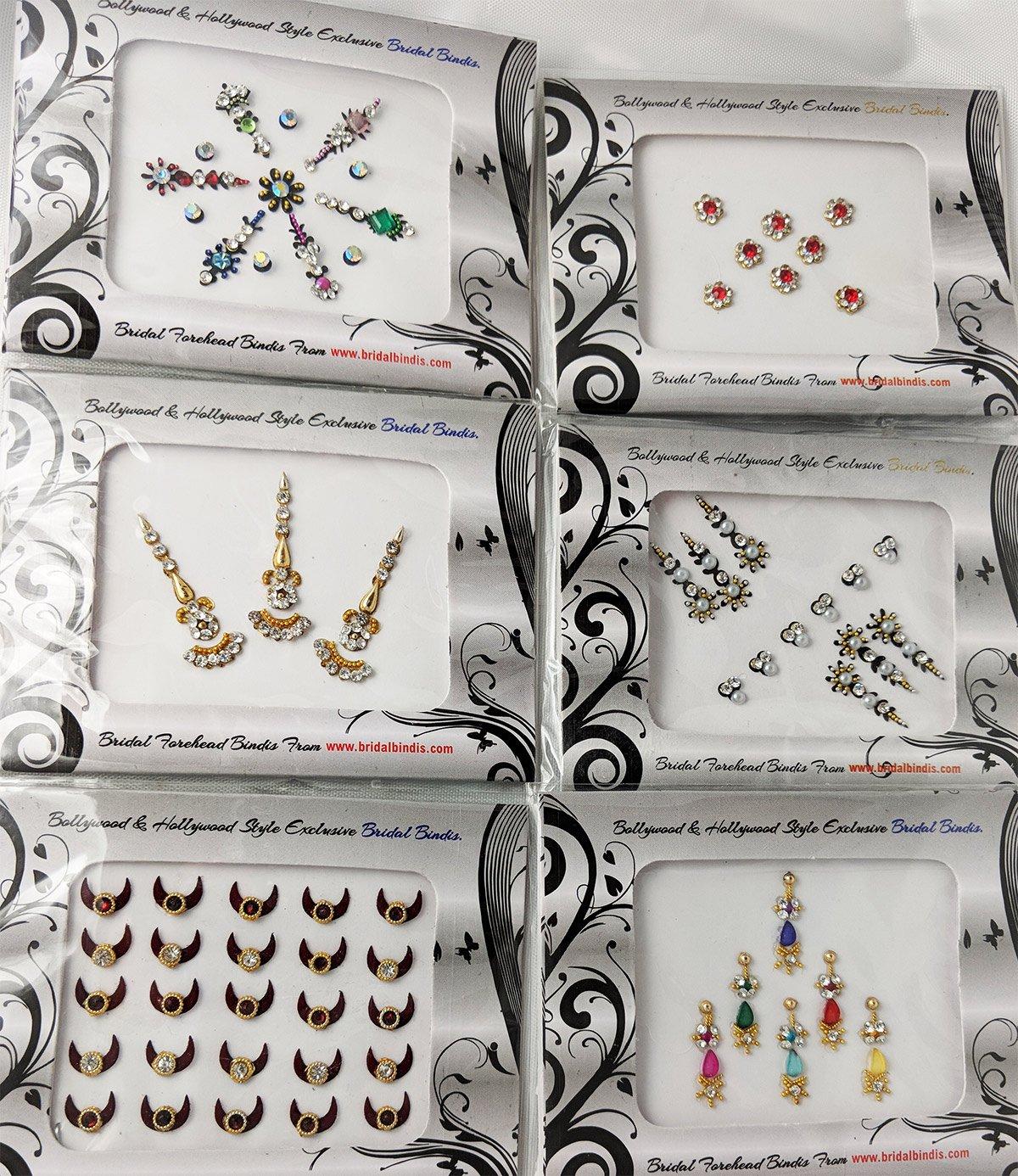 Bindis 6 Pack - 80 Multi-colored Assorted Bollywood Head Bindi Indian Forehead Jewel Stickers all sized & shape Tattoo Mega Deal.