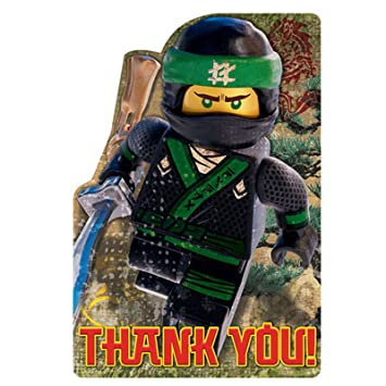 Amazon 8 Lego Ninjago Movie Birthday Party Thank You Postcard