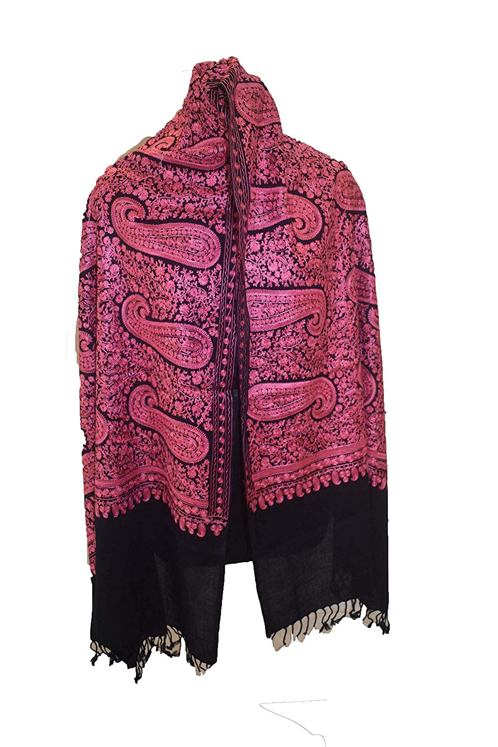 Lavender Pashmina Wool Shawl Crewel Embroidery Kashmir Ari Embroidered Stole Amazon In Home Kitchen