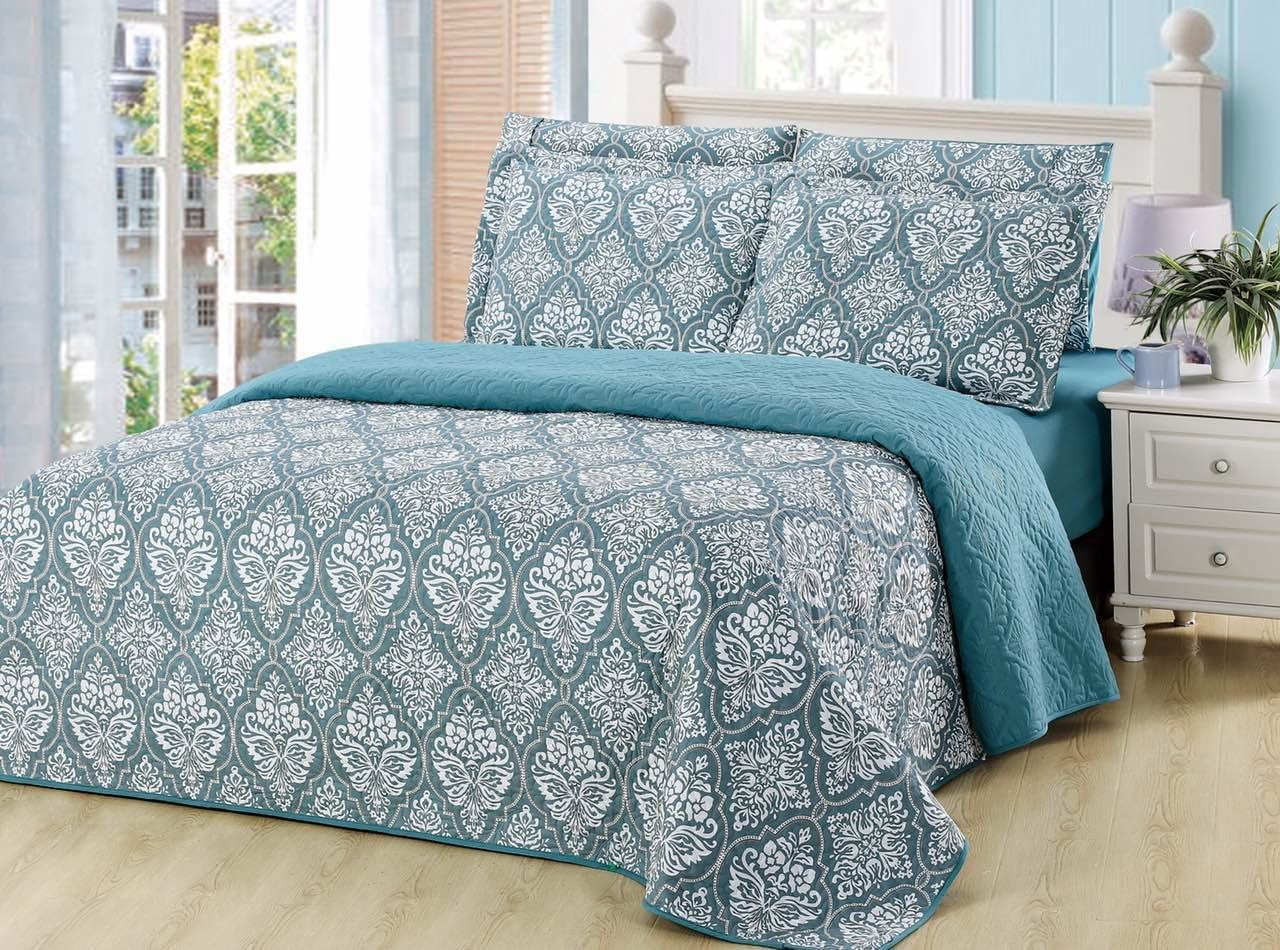6 Piece Pinsonic Printed Bedding Bedspread Coverlet Quilt Sheet Set with Fitted Sheet Queen Size