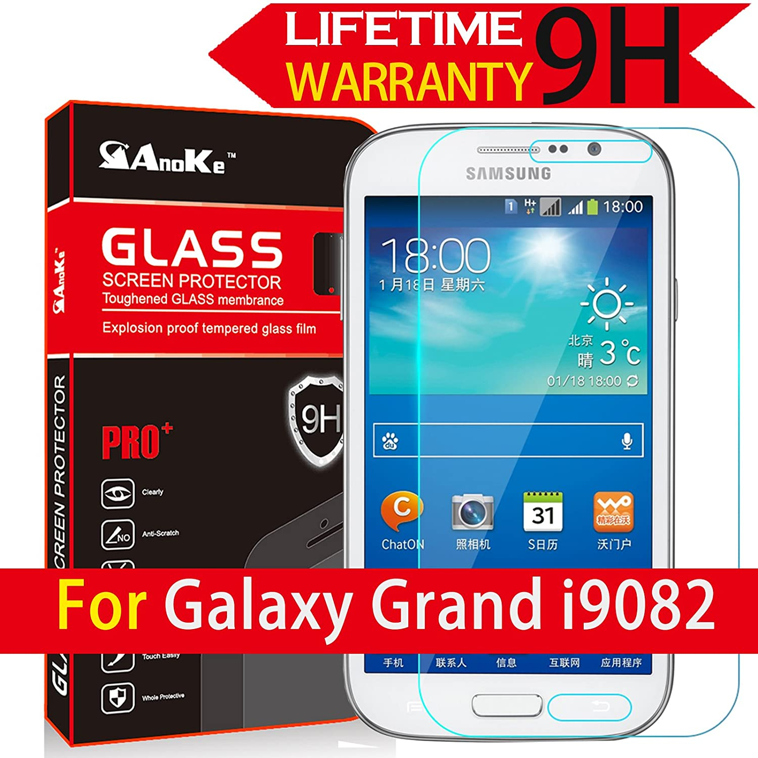 Anoke Samsung I9060 I9082 Tempered Glass Front Lcd Screen Protectors Galaxy Grand Neo 9h Hardness 25d Rounded Edges 03mm Thickness For