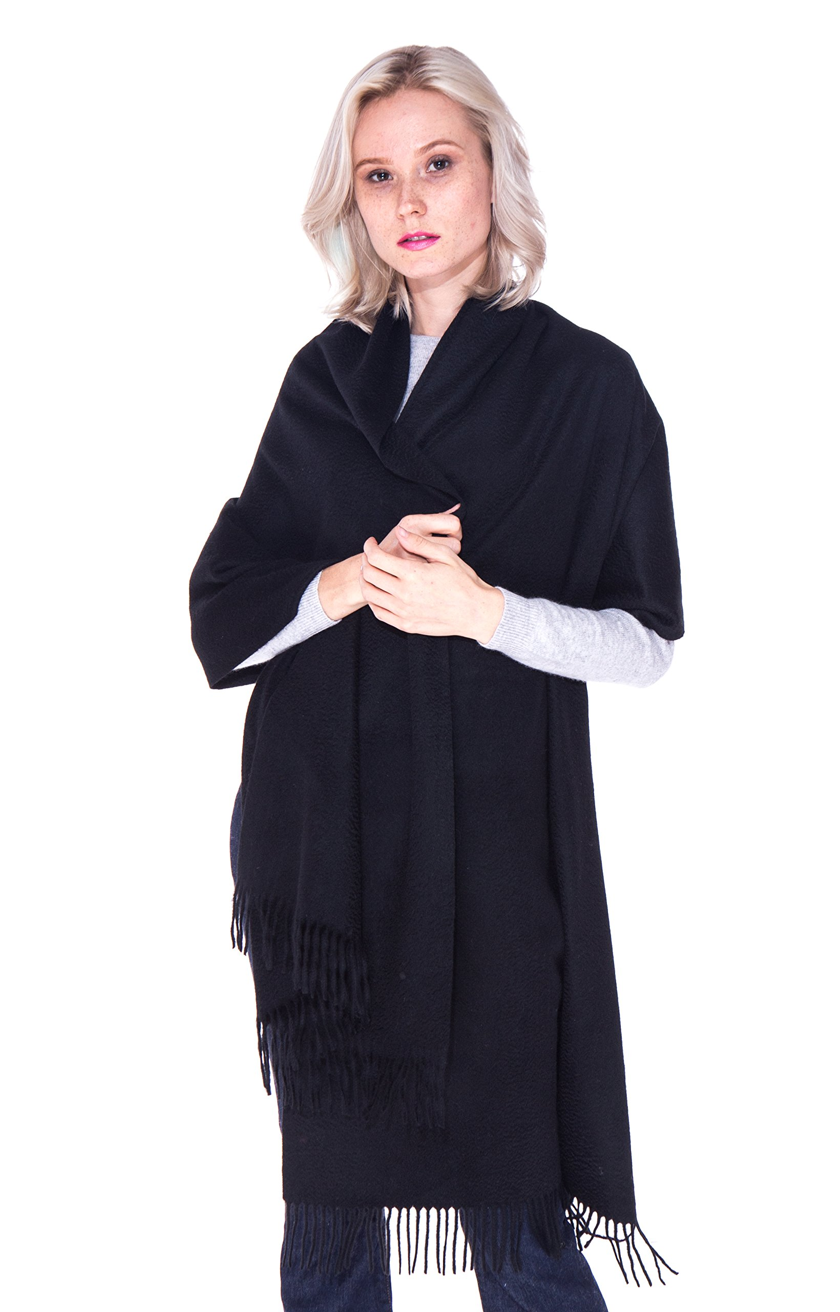 LEBAC 100% Cashmere Wrap Shawl Stole With Fringes - Extra Large Super Warm by LEBAC