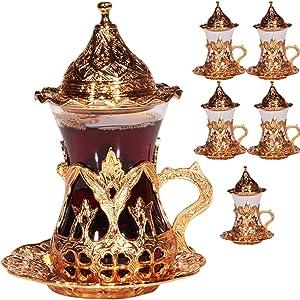(SET OF 6) Handmade Turkish Tea Water Zamzam Serving Set Glasses Saucer (Gold)