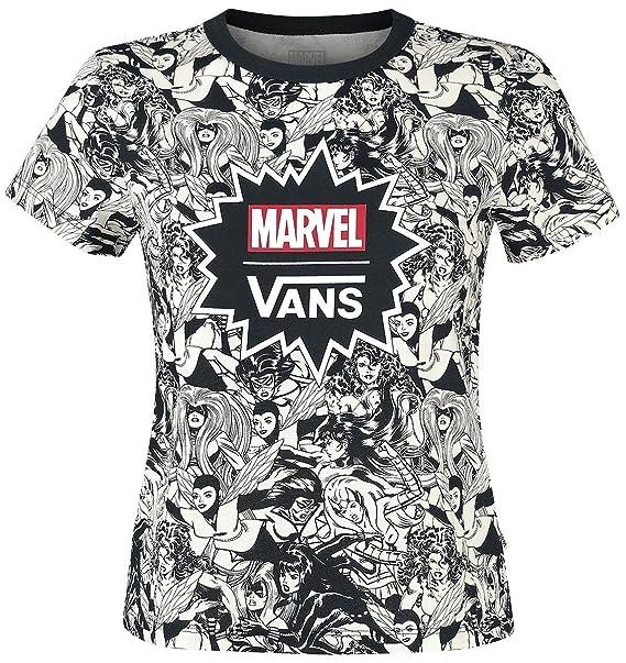 Vans Marvel Women Baby Tee Camiseta Mujer negro-blanco u1VtT