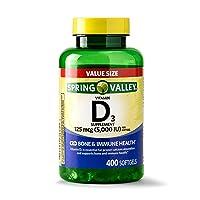 Spring Valley Vitamin D3 Softgels, 125 mcg (5000 IU), 400 Ct