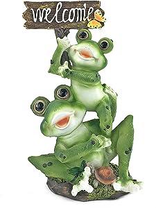 Bellaa 24825 Frog Statue Garden Decor Welcome Cute Animal Outdoor Patio Ornaments Yard Art Figurines Decorations 11 inch