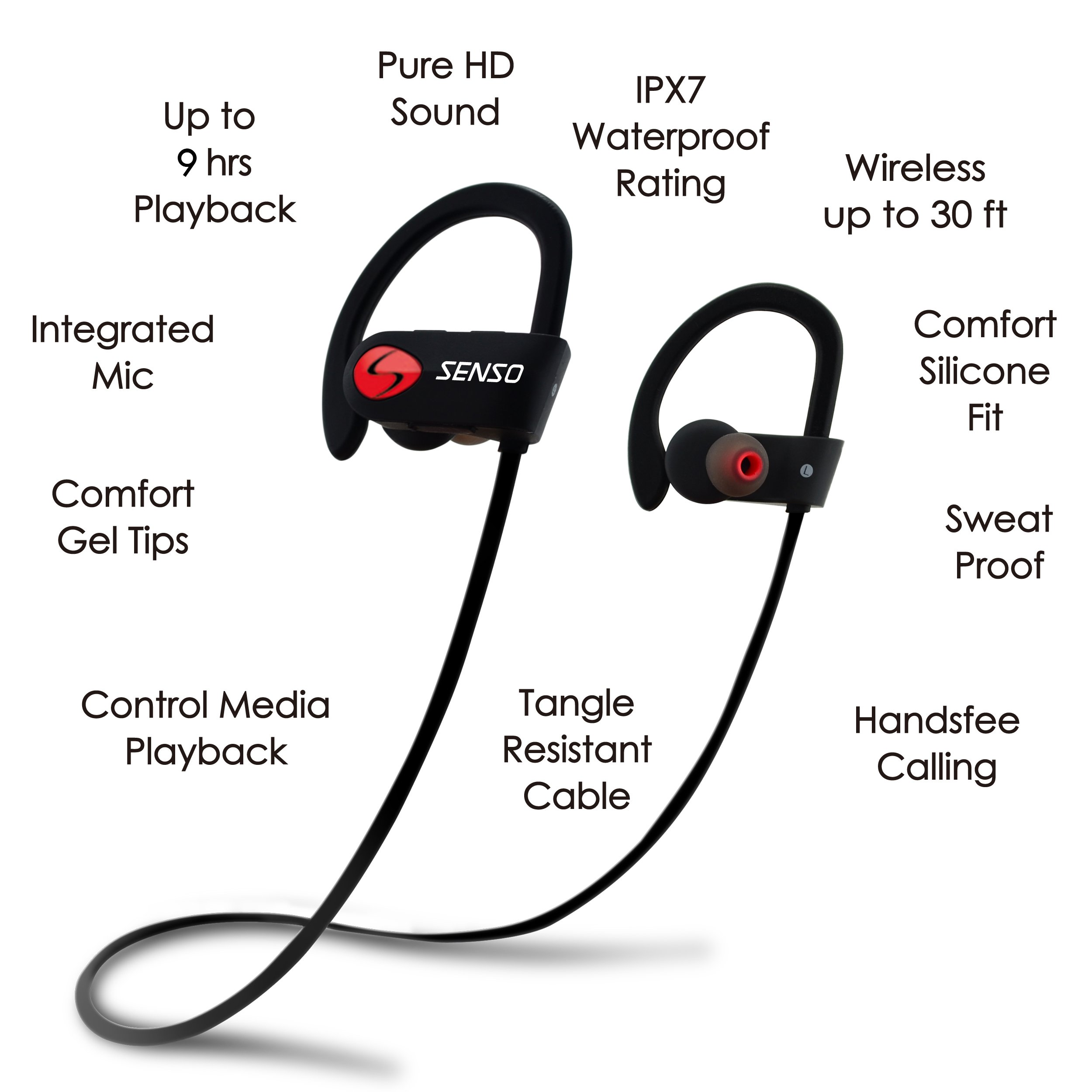 SENSO Bluetooth Headphones, Best Wireless Sports Earphones w/Mic IPX7 Waterproof HD Stereo Sweatproof Earbuds for Gym Running Workout 8 Hour Battery Noise Cancelling Headsets by Senso (Image #4)