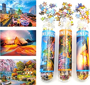 Small Jigsaw Puzzles for Adults Challenging Puzzle Difficult Puzzles Ferris Wheel Aurora Cabin Garden Landscape 150 Pieces Mini Tiny Jigsaw Puzzles Home Decor Entertainment 6 x 4 Inches, 3 Pack