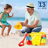 SGILE 13-pcs Sand Beach Toy Set with No-sharp Model Molds Bucket, Shovel, Rake, Kettle in Reusable Zipper Bag, Best Summer Camping Sea Beach Patio Play Toy for Toddler Kids Child, Random Color