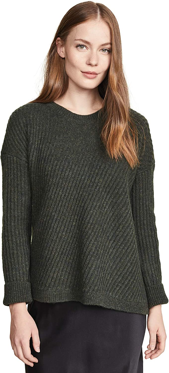Vince Womens Side Slit Crew Neck Sweater