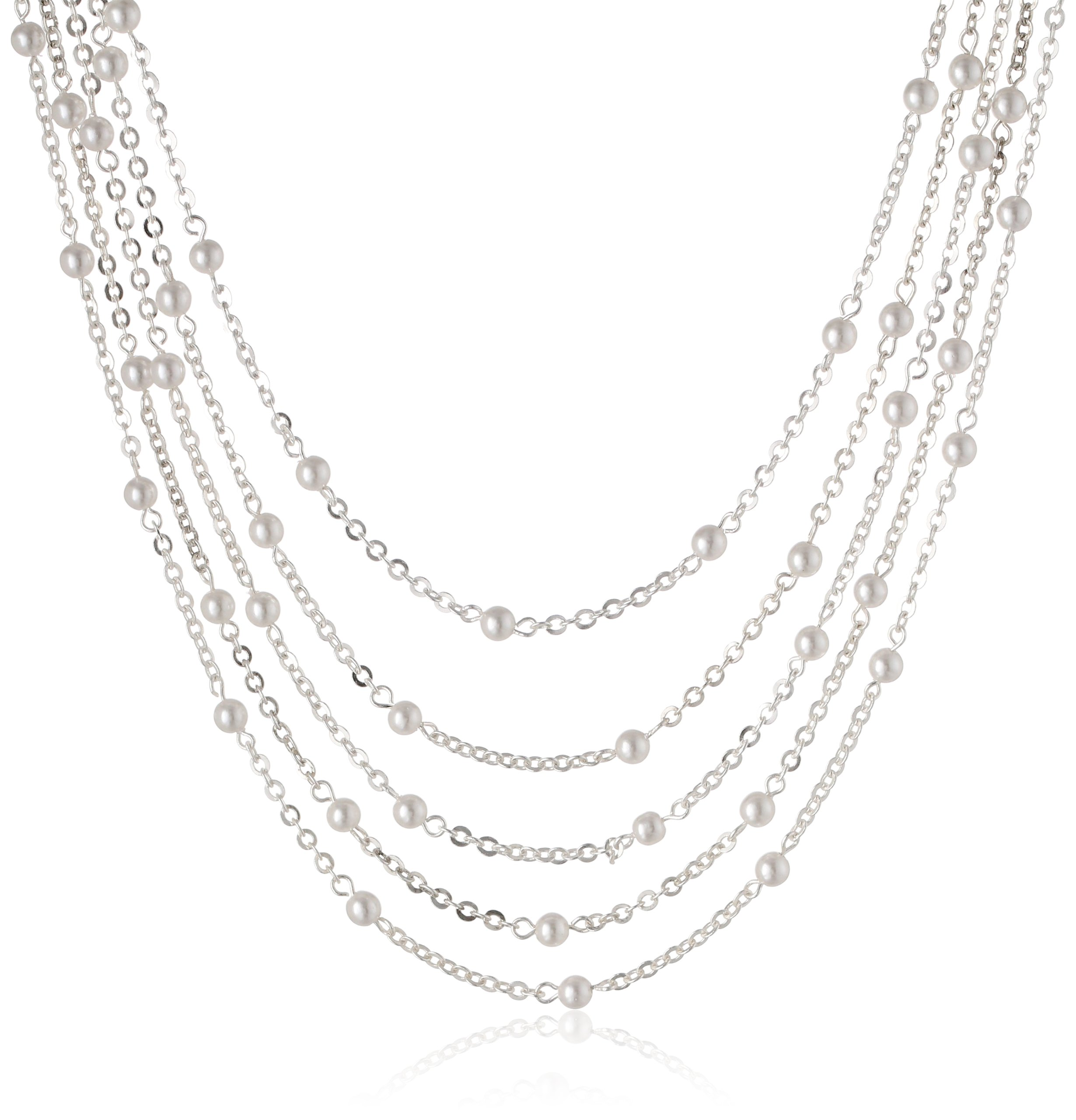 Signature 1928 Silver-Tone Simulated Pearl 5-Strand Necklace, 16''