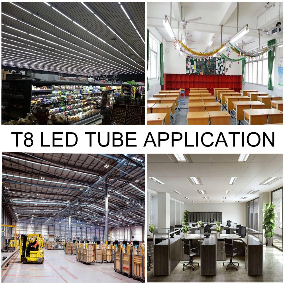 8ft Led Bulbs For Fluorescent Fixtures T8 T12 8' Led Tube 96'' FA8 Single Pin with Clear Cover, AC85-277V 6500K Daylight ETL (4 Pack)
