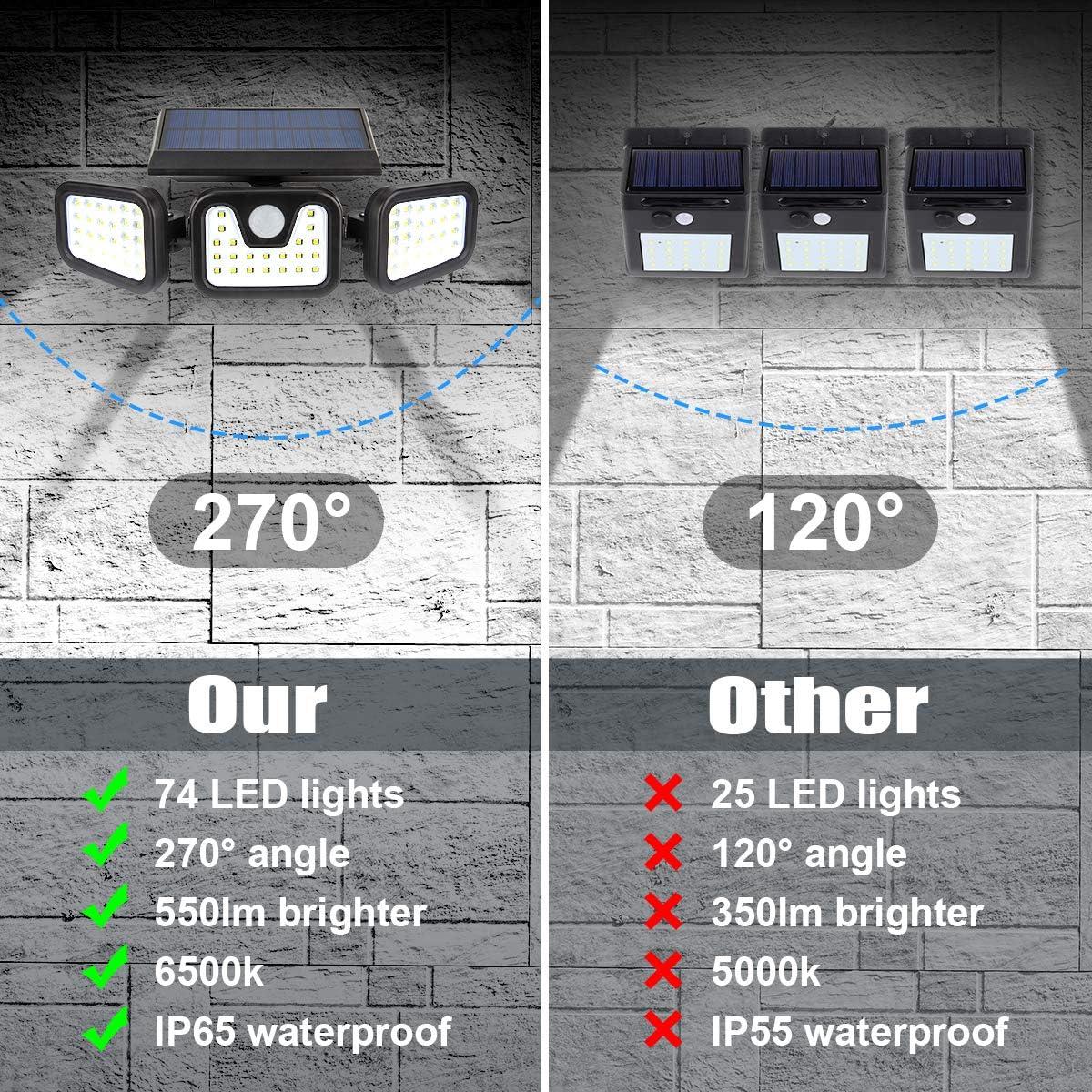 Solar Security Lights, ZEVEZ 3 Heads 74LED Solar Motion Sensor Lights Outdoor, Solar Lights Outdoor 270 Illumination 780LM 6500K IP65 Waterproof for Front Door, Patio Yard and Garage 2 Pack