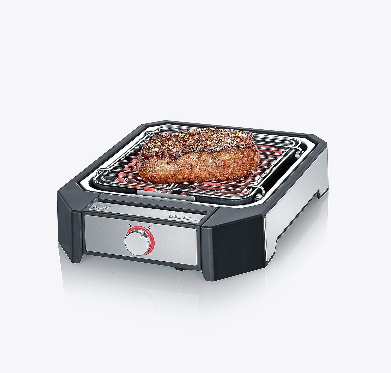 Severin PG 8545 Steakboard - Barbacoa de alto rendimiento, 2 ajustes de potencia, 2300 W, acero inoxidable cepillado, negro: Amazon.es: Jardín