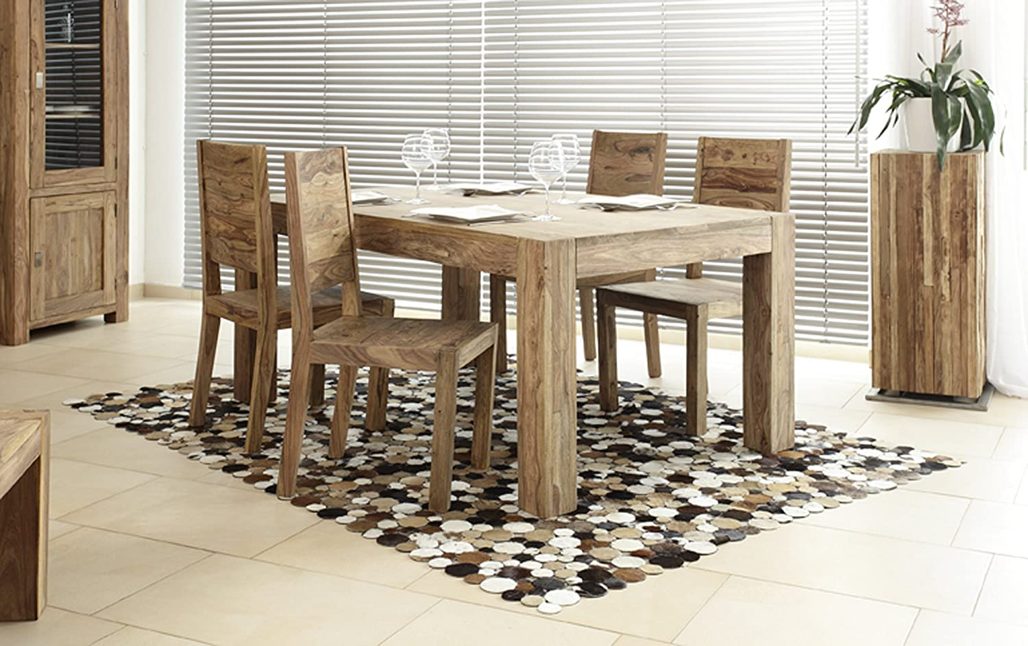 Wolf Mobel Yoga Dining Table 160 X 100 Cm With 4 Chairs Solid Shisham Wood Amazon Co Uk Home Kitchen