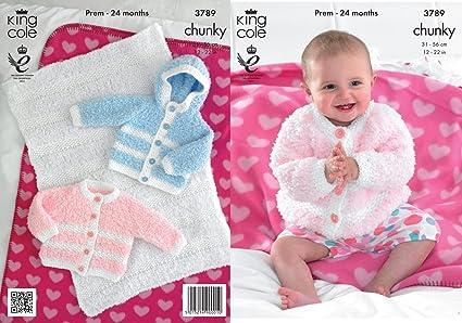 5520caedb King Cole Cuddles Chunky Knitting Pattern Baby Cardigan Hooded Jacket &  Blanket 3789