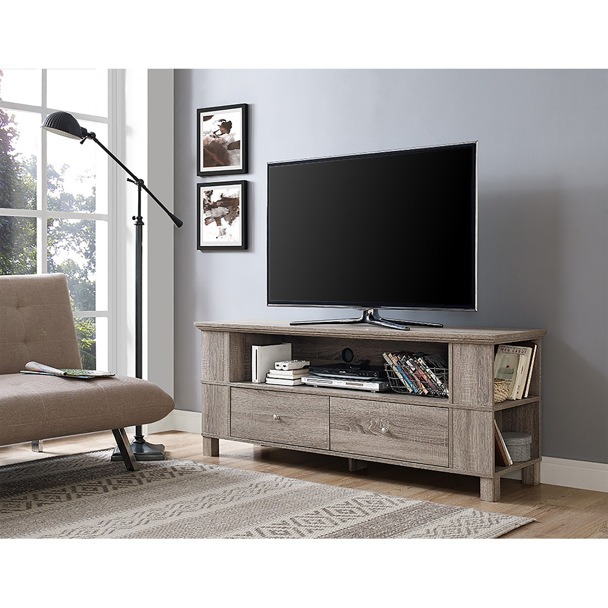 New 59 Inch Wide Driftwood Finish Tv Stand with Drawers and Side Storage